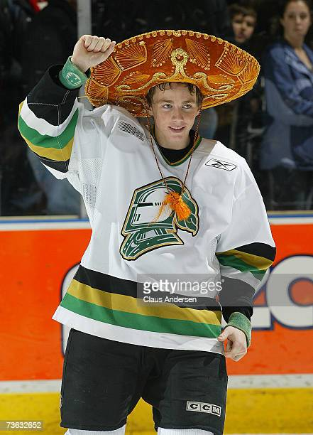 Patrick Kane of the London Knights salutes crowd upon being named first star scoring four goals and adding three assists against the Erie Otters at...