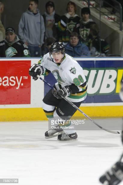 Patrick Kane of the London Knights skates against the Brampton Battalion at the John Labatt Centre on February 9, 2007 in London, Ontario, Canada....