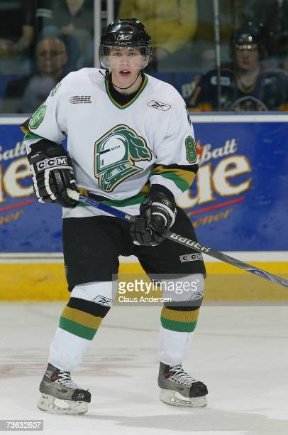 Patrick Kane of the London Knights skates against the Erie Otters at the John Labatt Centre on March 16 2007 in London Ontario Canada
