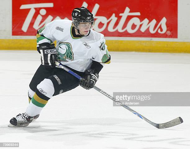 Patrick Kane of the London Knights skates against the Plymouth Whalers in game three of Western Conference Final on April 23 2007 at the John Labatt...