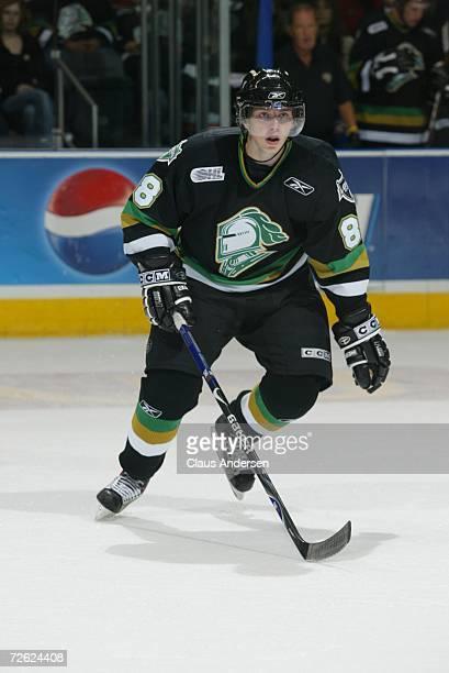 Patrick Kane of the London Knights skates against the Saginaw Spirit at the John Labatt Centre on September 22, 2006 in London, Ontario, Canada.