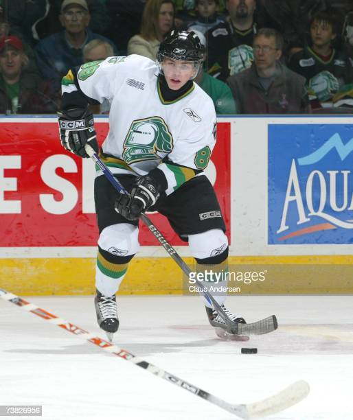 Patrick Kane of the London Knights skates against the Sault Greyhounds in opening game of second round of playoffs at the John Labatt Centre on April...