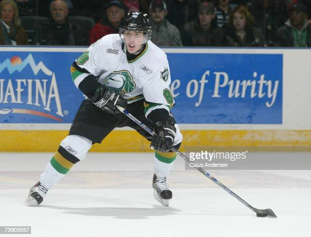 Patrick Kane of the London Knights skates with the puck against the Sault Ste Marie Greyhounds in game 7 of the Western Conference Semifinal on April...