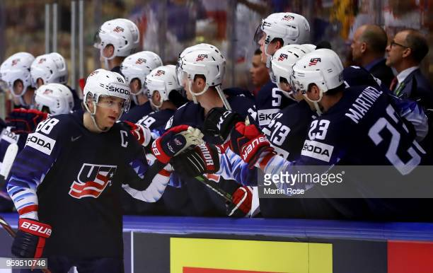 Patrick Kane of the United States celebrates after he scores the opening goal during the 2018 IIHF Ice Hockey World Championship Quarter Final game...