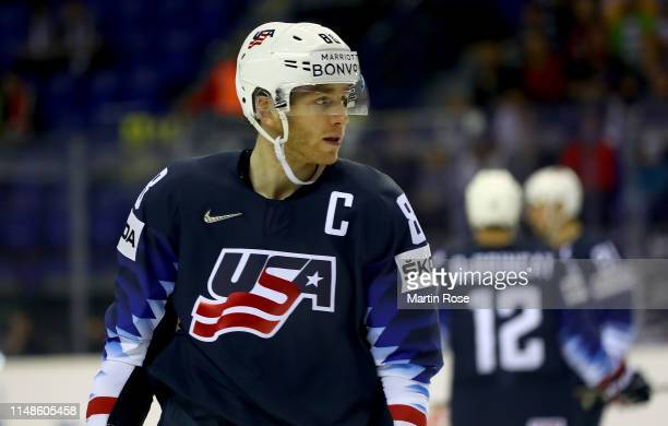 Patrick Kane of the United States skates against France during the 2019 IIHF Ice Hockey World Championship Slovakia group A game between United...