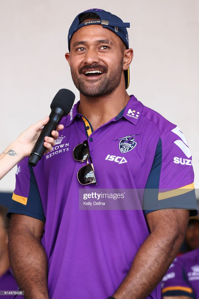 Patrick Kaufusi is interviewed on stage during the Melbourne Storm Family Day on February 3, 2018 in Melbourne, Australia.