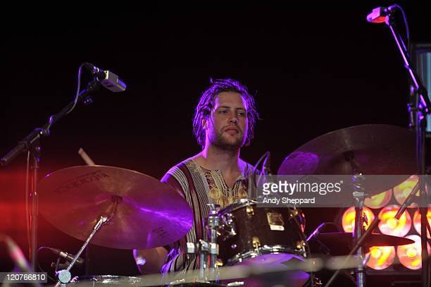 Patrick Kearney of Ethiojazz band Mulatu Astatke and The Black Jesus Experience performs on stage during The Big Chill Festival 2011 at Eastnor...