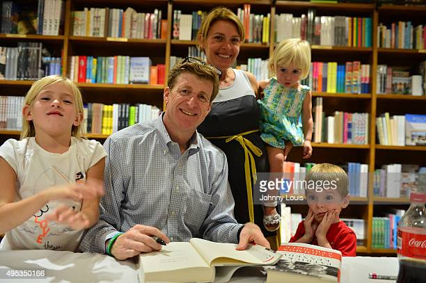 Patrick Kennedy and family Harper Petitgout Amy Savell Kennedy Nora Kennedy and son Owen Kennedy sign copy of his book A Common Struggle A Personal...