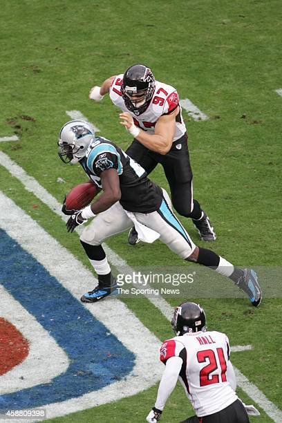 Patrick Kerney of the Atlanta Falcons chases after an opponent on the Carolina Panthers on December 4 2005 at the Bank of America Stadium in...