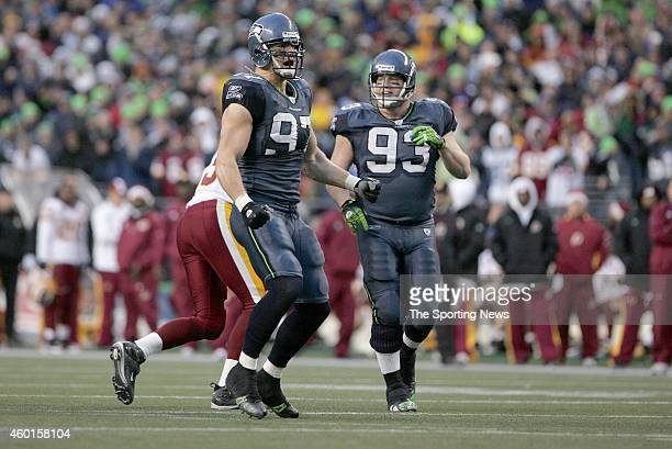 Patrick Kerney of the Seattle Seahawks celebrate during a game against the Washington Redskins on January 5 2008 at Qwest Field in Seattle Washington