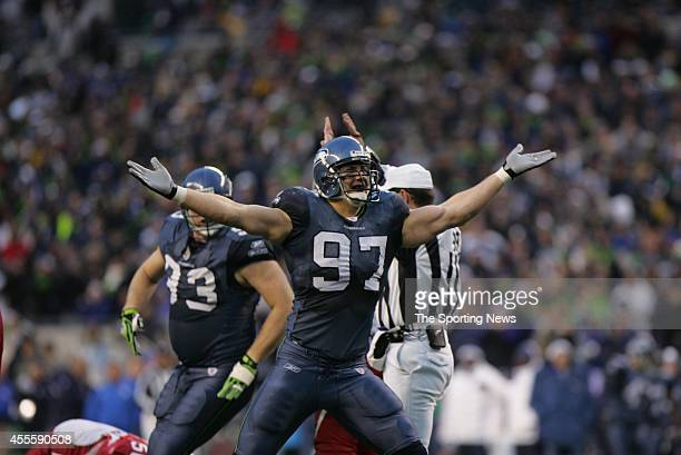 Patrick Kerney of the Seattle Seahawks celebrates after the score during a game against the Arizona Cardinals on December 9 2007 at Centurylink Field...