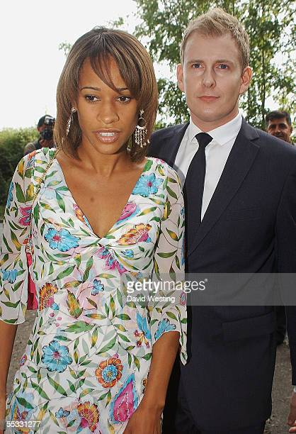 Patrick Kielty and guest arrive for the wedding model Jodie Kidd and internet tychoon Aidan Butler at Leatherhead Church on September 10 2005 in...