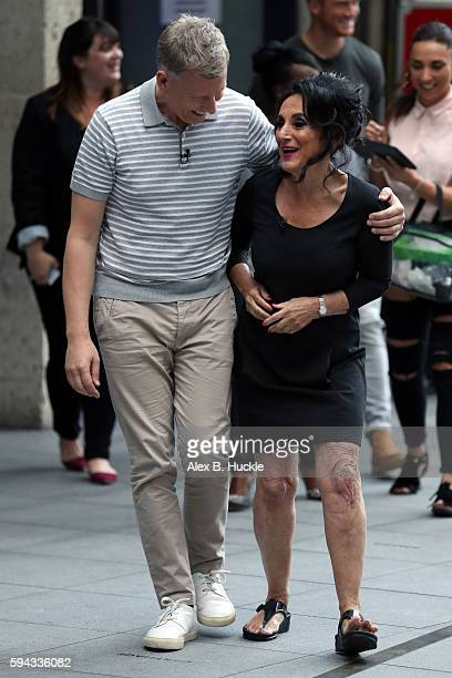 Patrick Kielty and Lesley Joseph seen during filming of 'The One Show' at the BBC Portland Place on August 22 2016 in London England