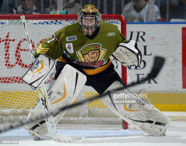 Patrick Killeen of the Brampton Battalion watches the play in a game against the London Knights on December 5, 2008 at the John Labatt Centre in...