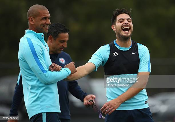 Patrick Kisnorbo and Bruno Fornaroli of Melbourne City laugh during a Melbourne City ALeague training session at City Football Academy on April 21...
