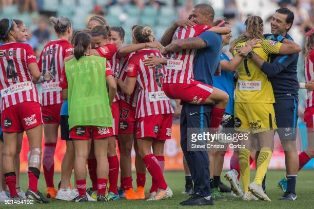 Patrick Kisnorbo coach of Melbourne City celebrates winning the WLeague Grand Final with Yukari Kinda during the match between the Sydney FC and the...