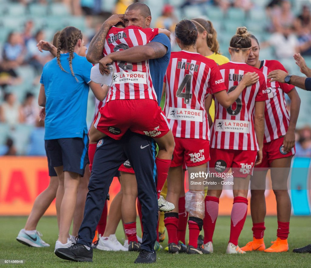 Patrick Kisnorbo coach of Melbourne City celebrates winning the W-League Grand Final with Yukari Kinda during the match between the Sydney FC and the Melbourne City at Allianz Stadium on February 18, 2018 in Sydney, Australia.
