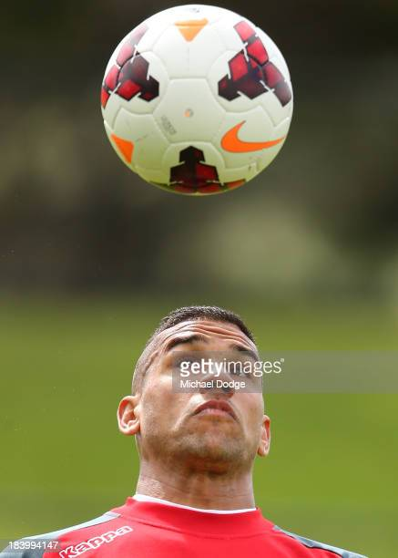 Patrick Kisnorbo headers the ball during a Melbourne Heart ALeague training session at Epping Stadium on October 11 2013 in Melbourne Australia