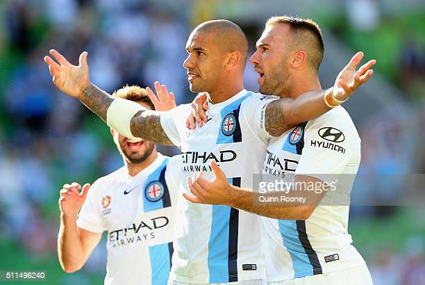 Patrick Kisnorbo of City celebrates after scoring a goal during the round 20 ALeague match between Melbourne City FC and the Central Coast Mariners...
