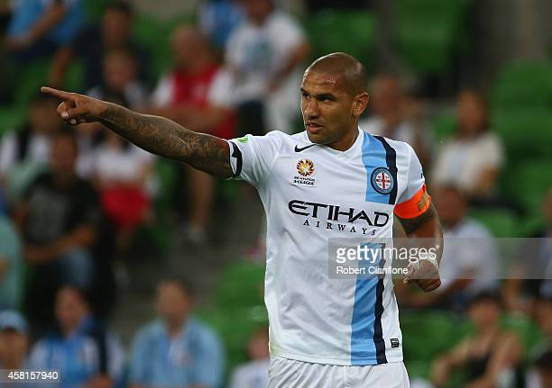 Patrick Kisnorbo of Melbourne City celebrates after scoring a goal during the round four ALeague match between Melbourne City and Adelaide United at...
