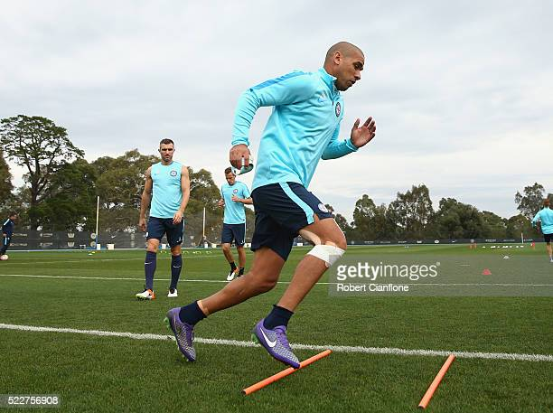 Patrick Kisnorbo of Melbourne City warms up during a Melbourne City ALeague training session at City Football Academy on April 21 2016 in Melbourne...