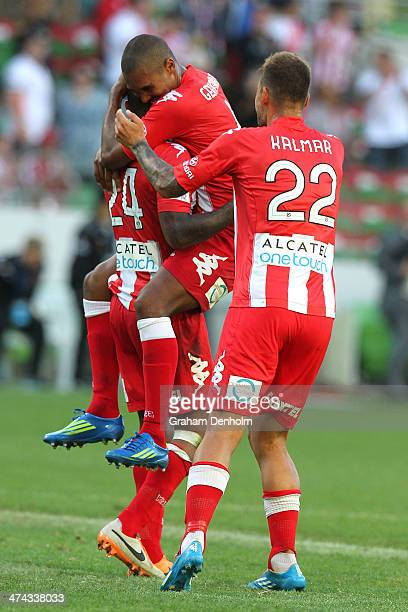 Patrick KisnorboPatrick Gerhardt and Nicholas Kalmar embrace following victory in the round 20 ALeague match between Melbourne Heart and Brisbane...