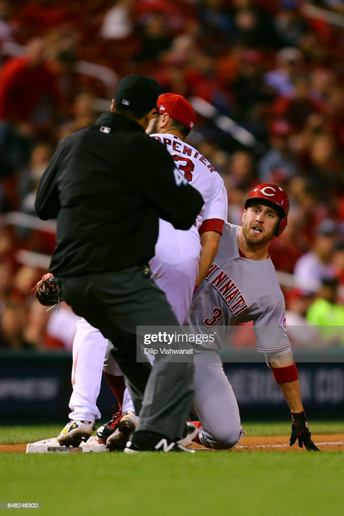 Patrick Kivlehan #3 of the Cincinnati Reds looks to the umpire for a call after hitting a triple against the St. Louis Cardinals in the fifth inning at Busch Stadium on September 12, 2017 in St. Louis, Missouri.
