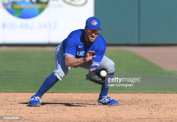 Patrick Kivlehan of the Toronto Blue Jays fields during the Spring Training game against the Detroit Tigers at Publix Field at Joker Marchant Stadium...