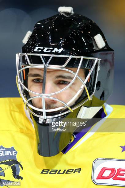 Patrick Klein of Krefeld Pinguine before the 33th Gameday of German Ice Hockey League match between Red Bull Munich and Krefeld Pinguine at...