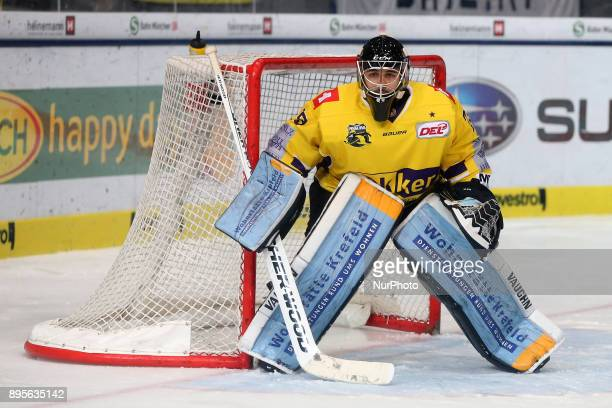 Patrick Klein of Krefeld Pinguine during 33th Gameday of German Ice Hockey League match between Red Bull Munich and Krefeld Pinguine at...