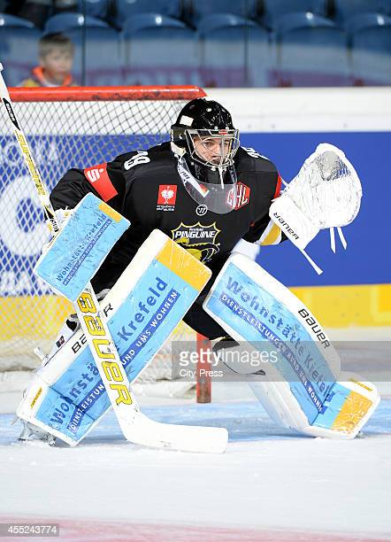 Patrick Klein of Krefeld Pinguine during the action shot on august 21 2014 in Krefeld Germany