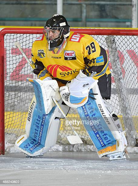 Patrick Klein of Krefeld Pinguine during the action shot on august 31 2014 in Krefeld Germany