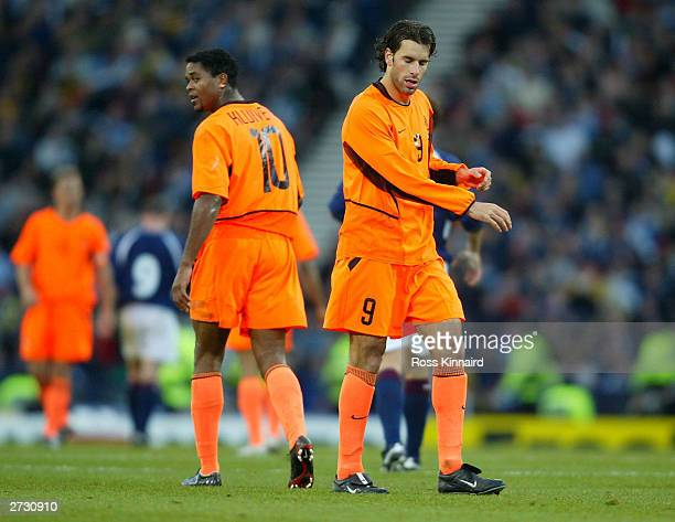 Patrick Kluivert and Ruud van Nistelrooy of Holland during the Euro 2004 Play-off, first leg match between Scotland and Holland at Hampden Park on...