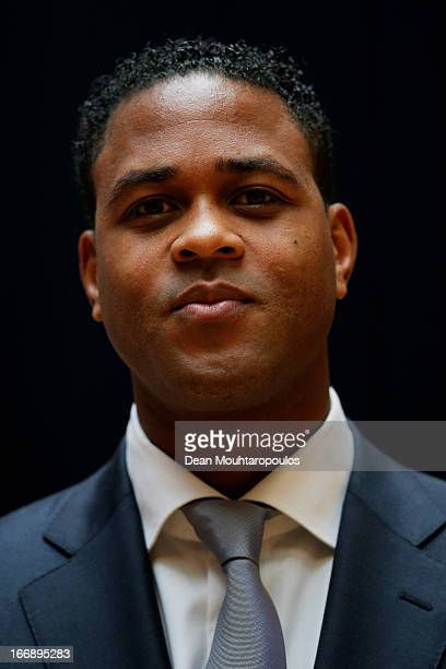 Patrick Kluivert former player and UEFA Europa League Final 2013 Ambassador poses prior to the UEFA Europa League trophy handover ceremony at Beurs...