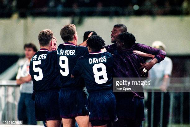 Patrick KLUIVERT of Ajax celebrate his goal with his teammates during the Champions League Final match between Ajax Amsterdam and Milan AC at...
