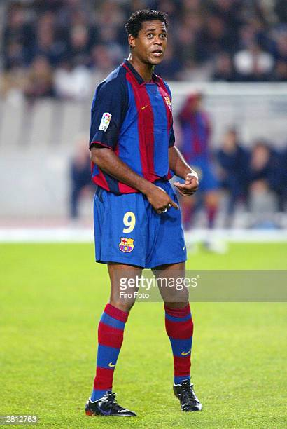 Patrick Kluivert of Barcelona in action during the Spanish Primera Liga match between RCD Espanyol and FC Barcelona at the Estadio Olimpico de...