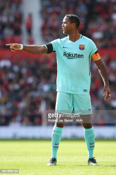 Patrick Kluivert of FC Barcelona Legends during the match between Manchester United Legends and FC Barcelona Legends at Old Trafford on September 2...