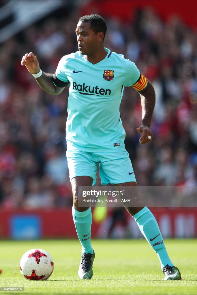 Patrick Kluivert of FC Barcelona Legends during the match between Manchester United Legends and FC Barcelona Legends at Old Trafford on September 2, 2017 in Manchester, England.