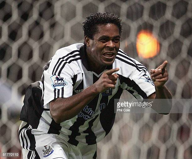 Patrick Kluivert of Newcastle celabrates scoring against Crystal Palace during the Barclays Premiership match between Crystal Palace and Newcastle at...