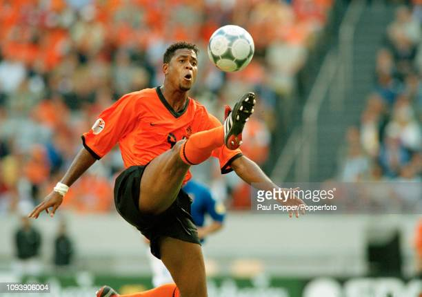 Patrick Kluivert of the Netherlands controls the ball during the UEFA Euro 2000 Semi Final between Italy and the Netherlands at the Amsterdam Arena...