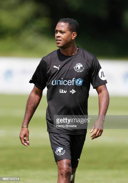Patrick Kluivert of the Rest of the World takes part in training during Soccer Aid for UNICEF media access at Fulham FC training ground on June 8...