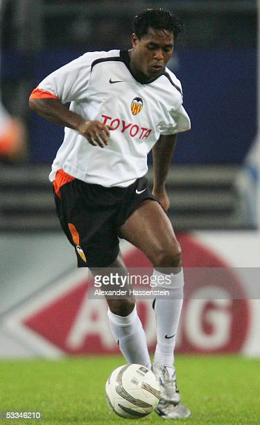 Patrick Kluivert of Valencia holds the ball during the Intertoto Cup Final between Hamburger SV and FC Valencia at the AOL Arena on August 9 2005 in...