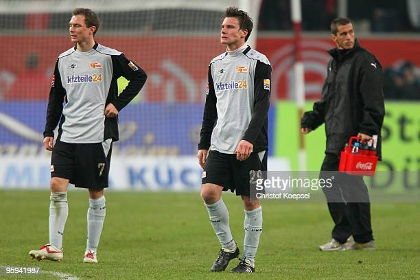 Patrick Kohlmann and Michael Parensen of Union Berlin looks dejected after losing 01 the Second Bundesliga match between Fortuna Duesseldorf and...