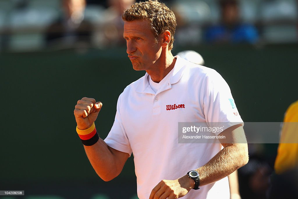 Patrick Kuehnen, Team captain Germany reacts during the match of Izak van der Merwe of South Africa and Florian Mayer of Germany at the Davis Cup World Group Play-Off tie between Germany and South Africa at Tenniclub Weissenhof on September 17, 2010 in Stuttgart, Germany.