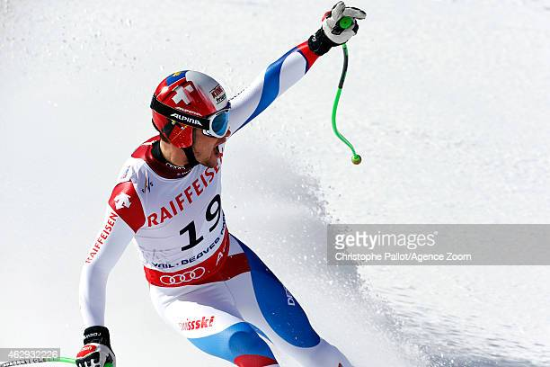Patrick Kueng of Switzerland celebrates after winning the gold medal during the FIS Alpine World Ski Championships Men's Downhill on February 07 2015...