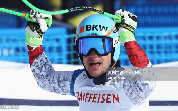 Patrick Kueng of Switzerland celebrates at the finish in the Men's Downhill during the FIS Alpine World Ski Championships on February 12 2017 in St...