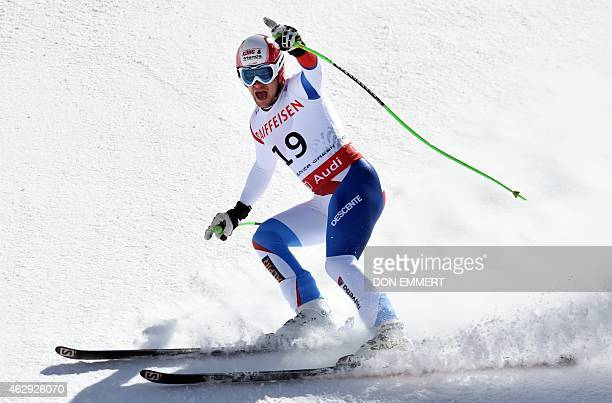 Patrick Kueng of Switzerland celebrates in the finish area during the 2015 World Alpine Ski Championships men's downhill February 7 2015 in Beaver...