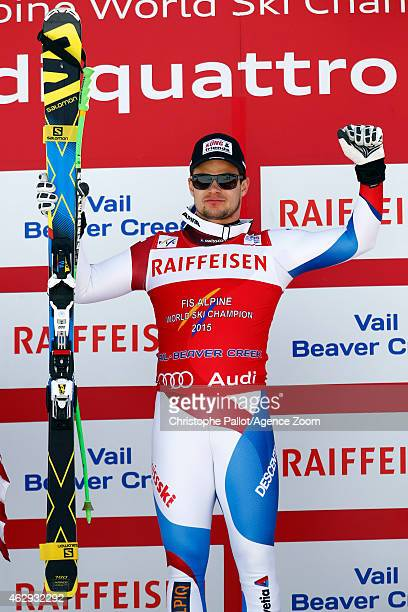 Patrick Kueng of Switzerland celebrates winning the gold medal during the FIS Alpine World Ski Championships Men's Downhill on February 07 2015 in...
