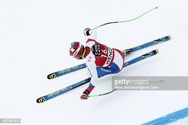Patrick Kueng of Switzerland competes during the Audi FIS Alpine Ski World Cup Men's Downhill Training on January 15 2015 in Wengen Switzerland
