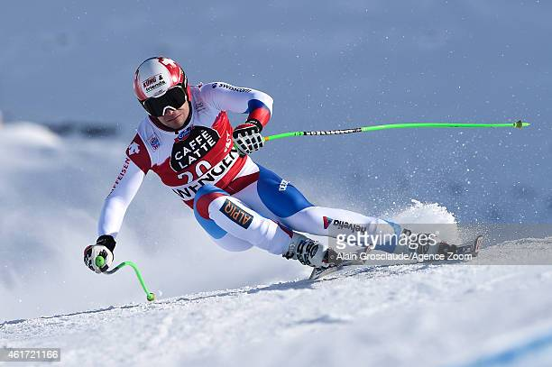 Patrick Kueng of Switzerland competes during the Audi FIS Alpine Ski World Cup Men's Downhill on January 18 2015 in Wengen Switzerland